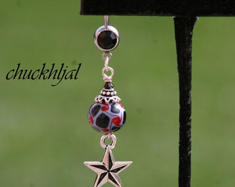 Nautical Star Nor-Ca Lampwork Bead Crystals N Silver Tone Cross DeSIGNeR Belly Button Ring Sunday School