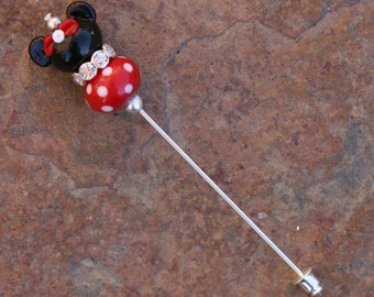 Minnie Mouse Style Stick Pin Disney Inspired DeSIGNeR Sra Lampwork Disneyland Magic Perfect Scarf Blazer Accessory