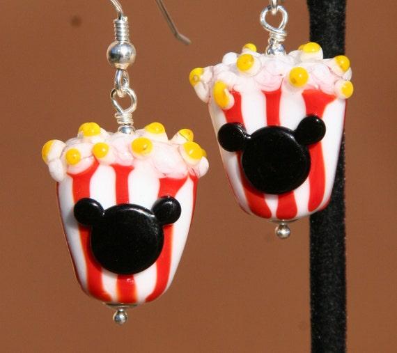 Popcorn Mickey Style Lampwork Disney Inspired DeSIGNeR Earrings Sterling Silver Theme Park Favorite