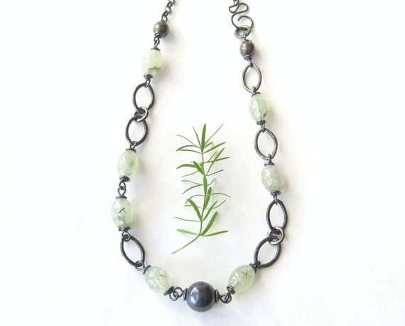 green prehnite necklace, rustic necklace, wire wrapped necklace, fine silver metalwork necklace, sterling chain