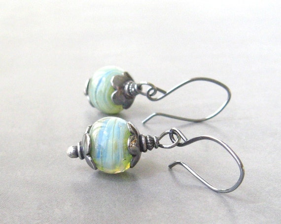 aqua dangle earrings with lampwork beads and sterling silver