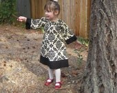 Classic Damask Peasant style Dress in baby, toddler and Girl sizes