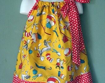 Yellow Cat in the Hat Custom Pillowcase Dress