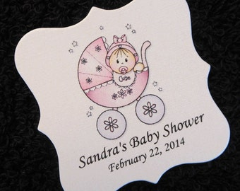 Personalized Baby Girl Baby Shower Favor Tags, Baby Girl In Pink Buggy, Set of 40 2 x 2 Baby Girl Shower Tags