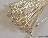 100 Silver Ball Headpins 21-22 Gauge 2.25 inch Plated Brass Ball Pin 1.5 Ball - 100 pc - F4098BHP-S100