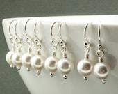 Bridesmaid Jewelry - Bridesmaid Earrings - Set of 5 White Pearl Earrings - Swarovski Pearl Drop Earrings - Bridal Earrings - Sterling Silver