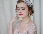 Dramatic Bridal Headband with Swarovski Rhinestone Flowers and Pearls by Fine & Fleurie