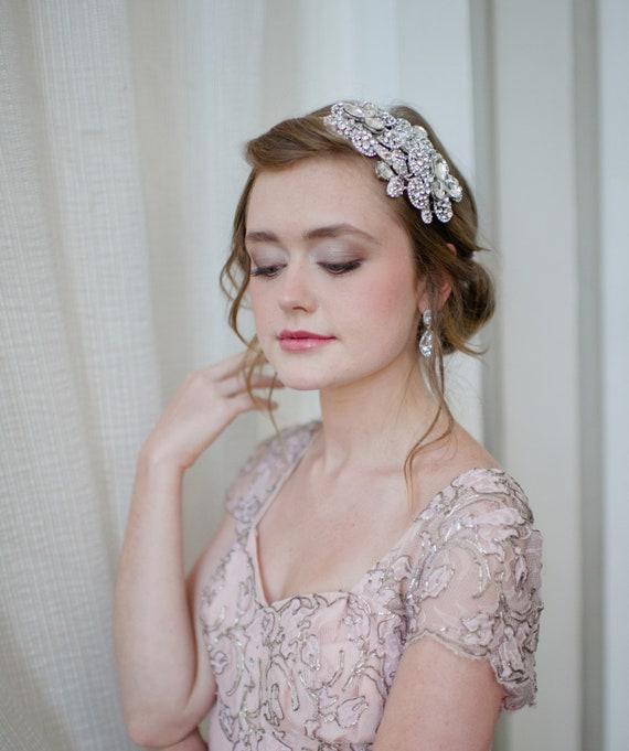Dramatic Bridal Headband with Swarovski Rhinestone Flowers and Pearls by Fine & Fleurie