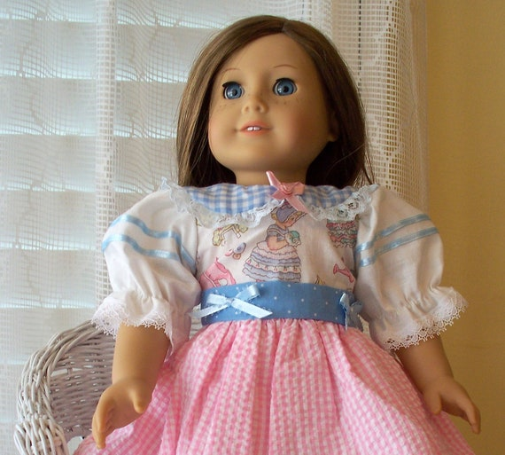 American Girl Doll Clothes Pink Gingham  Dress Fits American Girl Doll or 18 inch doll