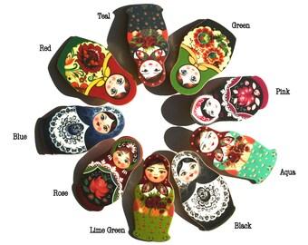 Matryoshka Brooch - Babushka Doll - Babushka Brooch - Matryoshka Jewelry - Russian Jewelry - Russian Print - Christmas Brooch-Shrink Plastic