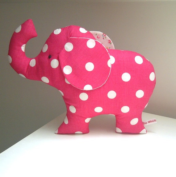 Cute Little Toy Elephant Plush in Raspberry Pink Spot Fabric