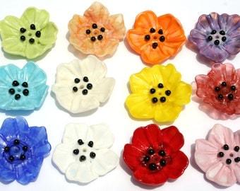 Poppy Flower Beads - Handmade Sculptural Glass - Artist Kiln Annealed