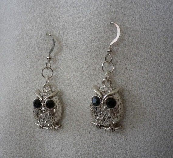 Silver Black and Rhinestone Owl earrings