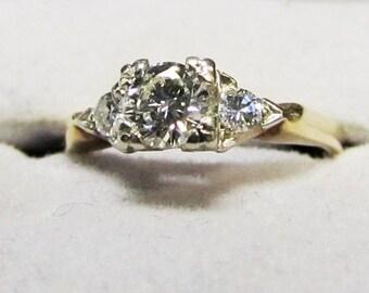 Starry Night White and Yellow Gold Diamond Ring