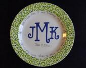 "Handpainted Platter - 12"" Monogrammed Plate - Wedding Gift"