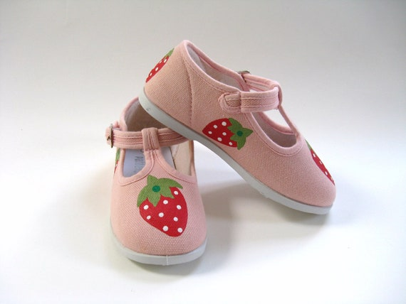 Strawberry Shoes, Hand Painted Girl's Pink T- Strap, Strawberry Outfit, Summer Shoes, Strawberry Theme, Baby and Toddler, Cotton Canvas