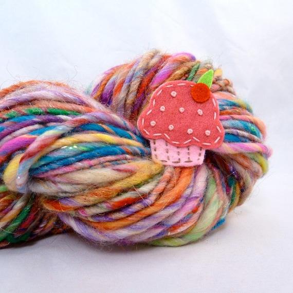 Hand Spun Bulky Art Yarn- Confetti Cupcake