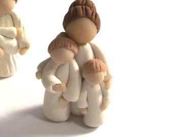 Mother and Two Children Individually Sculpted Miniature Figurine Mothers Day Gift