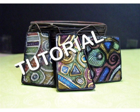 Polymer clay Tutorial - Create your own texture plate AND faux cloisonne jewelry with polymer clay