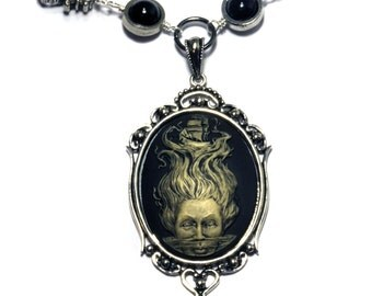 80 - Neo Victorian Steampunk Goth Jewelry - Necklace - Ivory on Black Lady of the Sea Cameo -Silver tone
