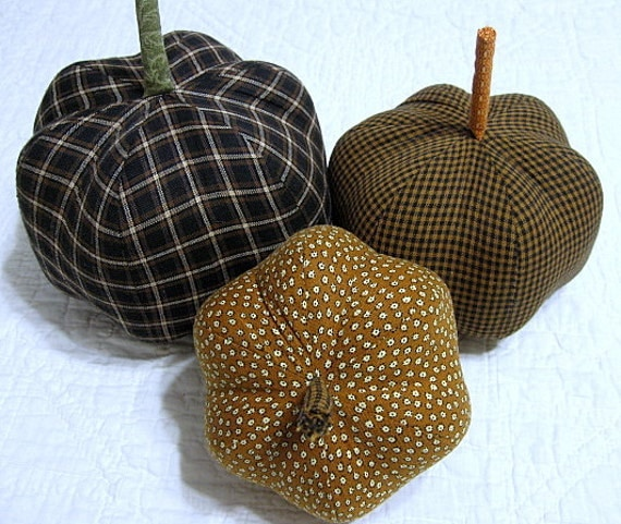 fabric pumpkins - life in the country black gold classic - - set of 3 p U m P k I nS