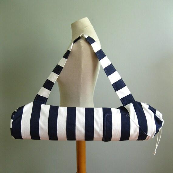 Yoga Mat Bag - Navy Stripes