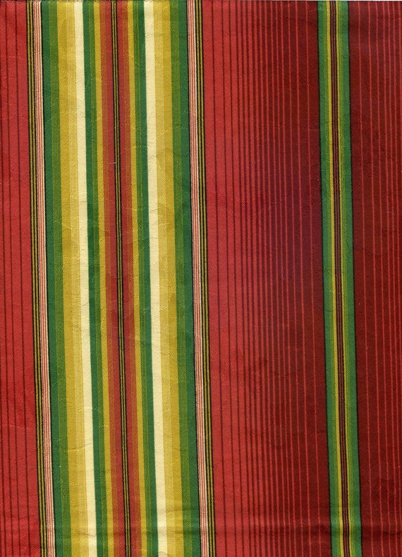 Striped Jacquard Fabric Sample Remnant - Red Green Yellow Stripes - Home Decor Upholstery - 26 x 21 in