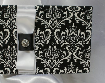 DAMASK GUEST BOOK Damask  Black and White Reverse With White Accent Ribbon or Your Choice of color Ribbon