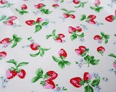 3092 - Cath Kidston Strawberry (Offwhite) Oilcloth Waterproof Fabric - 28 Inch (Width) x 17 Inch (Length)