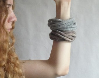 Earth Tones Felted Bracelet / Felted Cuff / Modern Bracelet / Twisted Felt Collection - Safari - Made to Order