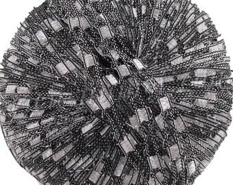 Ladder Ribbon glitter yarn, MOON BEAM, black white grey trellis yarn, railroad yarn, sparkle yarn, 102