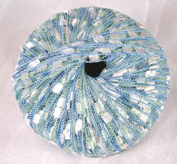Berlini West Track II Ladder ribbon yarn, Sea Breeze, blue green white, crochet necklace yarn,  6