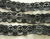 2 Yards Skull Lace Trim (30mm wide) Black (((LAST)))