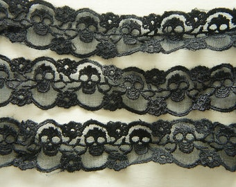 2 Yards Skull Lace Trim (30mm wide) Black