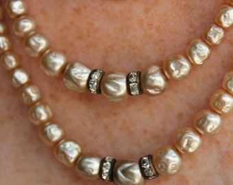 VINTAGE Pearl bead and circle Rhinestone bead necklace