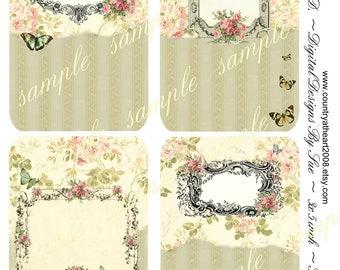 Tag No. B57 -   Digital Download - Collage Sheet - Printable Download - Gift Tags - Scrapbook