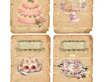 Instant Download  Shabby Cottage 102 - High quality digital Printable Download - Hang Tags -  flowers romantic French