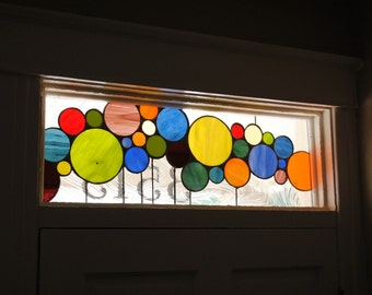 "Stained Glass Transom with address marker / ""Colored circles"" (AM-49)"