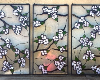 """Stained Glass 3 Hanging Panel-Set / """"Dogwood Branches"""" (P-23)"""