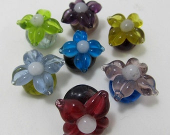 SALE - Lampwork Flower Bead - Set of Three