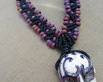 Painted Skull with Glass Hemp Macrame Necklace - Natural Hippie Bohemian