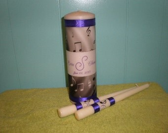 Music Note Wedding Unity Candle Personalized Set