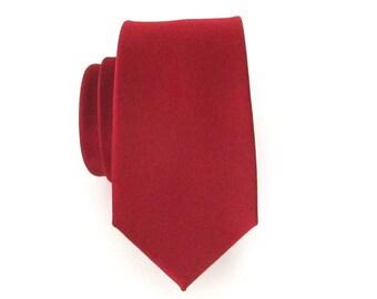 Skinny Tie. Mens Tie Maroon Skinny Necktie