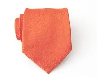 Mens Ties. Necktie Burnt Orange Paisley Silk Tie With Matching Pocket Square Option