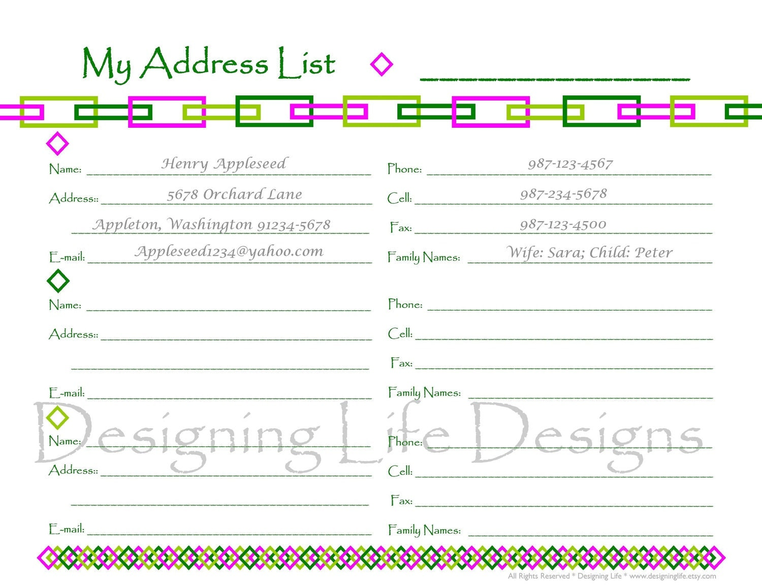 Printable address book sheets contact list pdf wedding for Addressable template