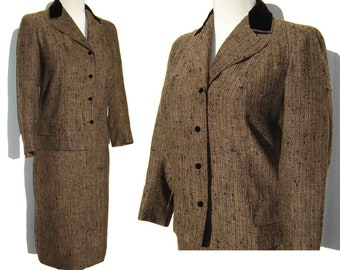 Vintage Suit Vera Maxwell Wool Tweed Jacket Skirt Brown & Black Velvet M