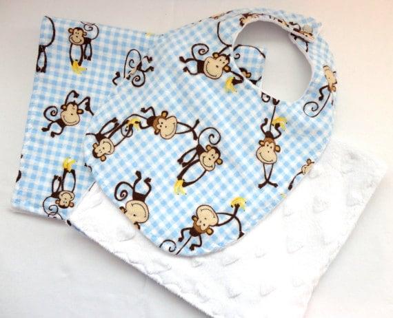 Baby Bib,  Burp Cloth Baby Gift Set - Cotton Flannel Blue and White Monkey Print