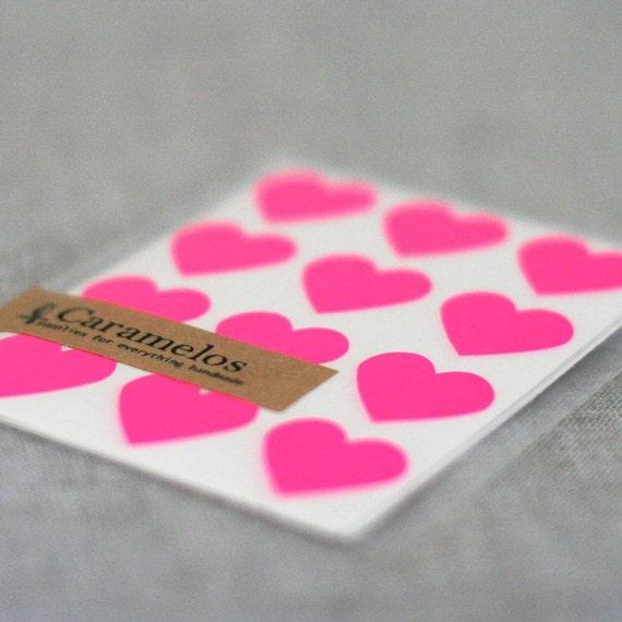 Neon Pink Heart Stickers Seals 108
