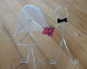 HAPPILY EVER AFTER (all-dressed) Bride and Groom with Flowers Wedding Cake Topper