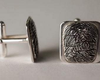 Fingerprint CuffLinks Cuff Links for Men Personalized in Sterling Silver